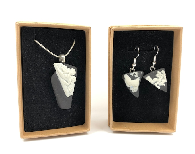 Black Wedgwood necklace and Earrings. Each is handmade from salvaged Original Jasperware. The Ultimate gift helping to save our planet.
