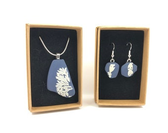 Dark Blue Wedgwood necklace and Earrings. Each is handmade from salvaged Original Jasperware. The Ultimate gift helping to save our planet.