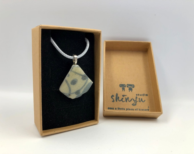 Japanese Sea Pottery Pendant. Handmade & totally unique. Recycled, Re purposed, Re crafted. The perfect gift for someone special.