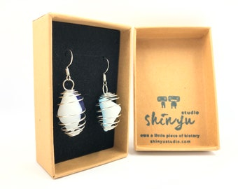 1970's Fused Glass Earrings. Handmade & totally unique upcycling. The eco friendly gift helping save the planet.