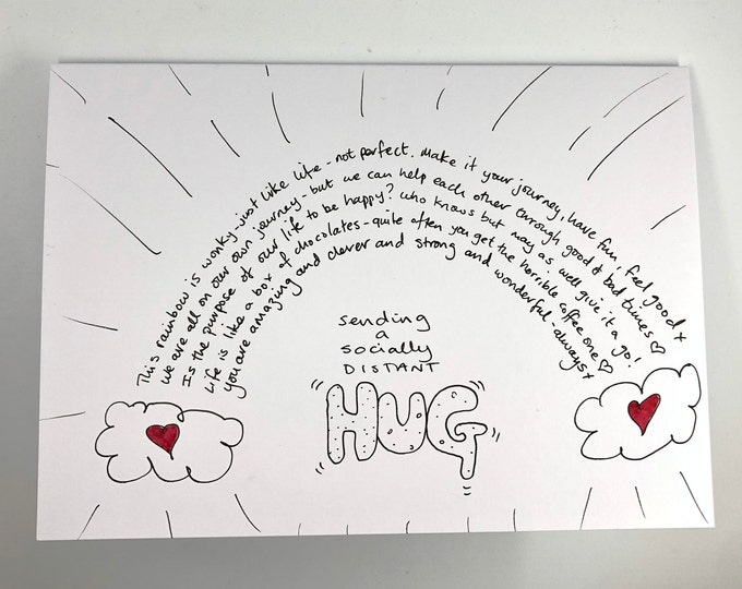 Personalised Hand drawn 'Socially distant hug' Card. Customised together to produce the perfect personal gift.  *Postage included in price