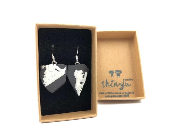 Rare Black Wedgwood drop earrings. Each item is handmade from salvaged Original Wedgwood. Sterling Silver earring loops to be hypoallergenic