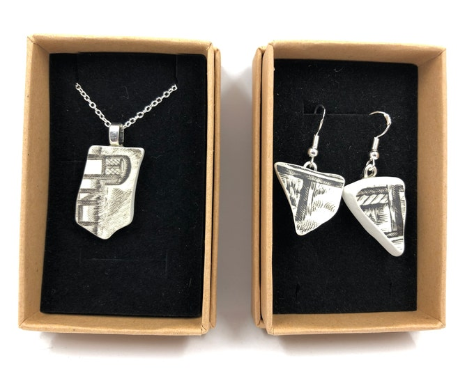 The 'Hay wain' Necklace & Earrings. Handmade from a salvaged staffordshire ware. Repurpose, Recycle - save our planet.