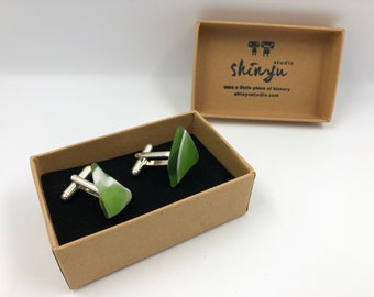 British Vintage Glass Cufflinks. Handmade from an original 70's fused glass 'Swan'!. Completely different to anything on the market.