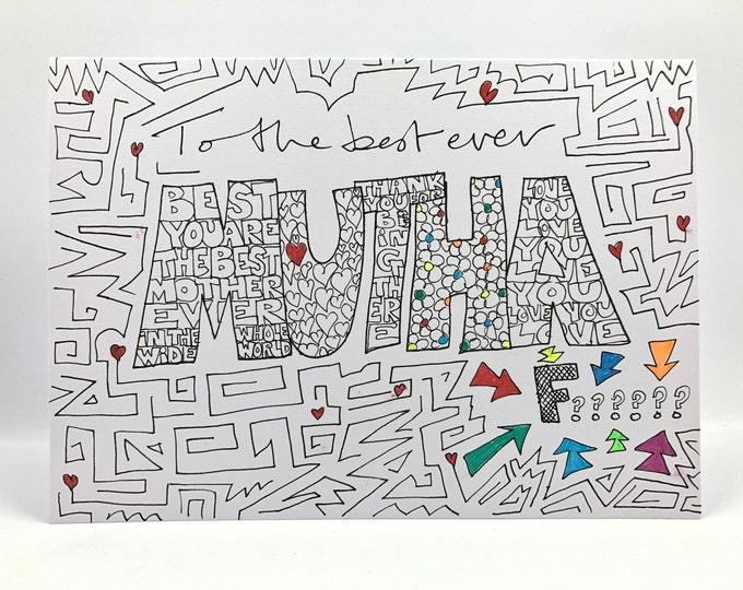 Hand drawn 'To the best Mutha F***' card. Personalized with name & messages to make the perfect personal gift.