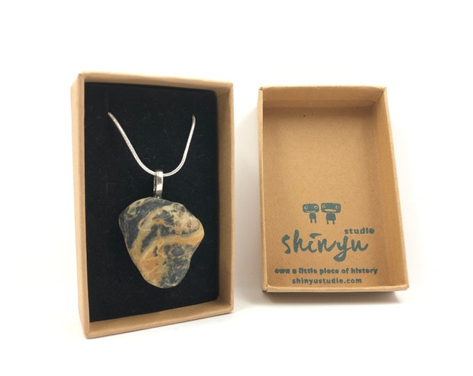 Sea Pebble Pendant with silver plated chain. Handmade & totally unique. The perfect gift for no one else has!