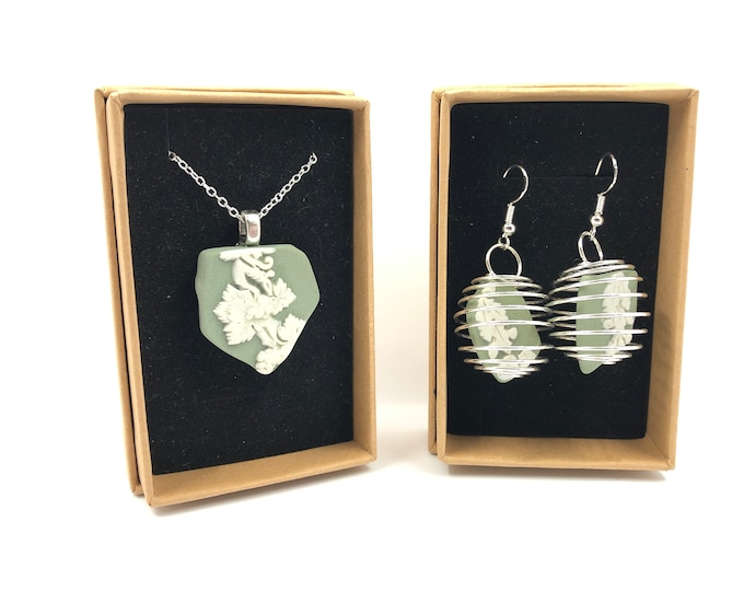 Sea Green Wedgwood necklace and Earrings. Each is handmade from salvaged Original Jasperware. The Ultimate gift helping to save our planet.