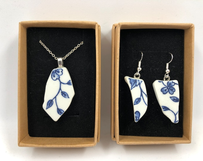 Repurposed 'Flower' necklace & earrings. Handmade from a salvaged Ceramic plate. Repurposing unloved objects into beautiful jewellery.