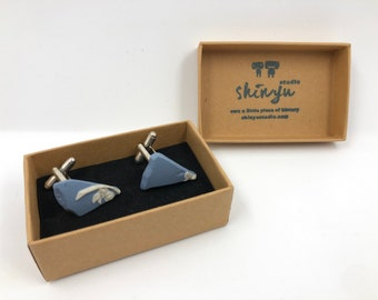 Recycled and Redesigned Jasperware Wedgwood Cufflinks. Handmade from a salvaged piece of Original Wedgwood. Original Matte blue finish.