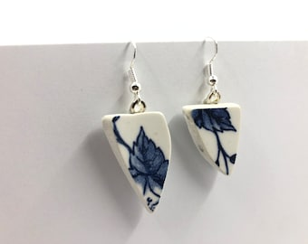 Repurposed 'Flower' earrings. Handmade from a salvaged Ceramic plate. Repurposing unloved objects into beautiful jewellery.
