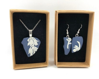 Cobalt Blue Wedgwood 'Vines' necklace and earrings. Each item is handmade from salvaged artisan neoclassical Wedgwood. Very Unique!