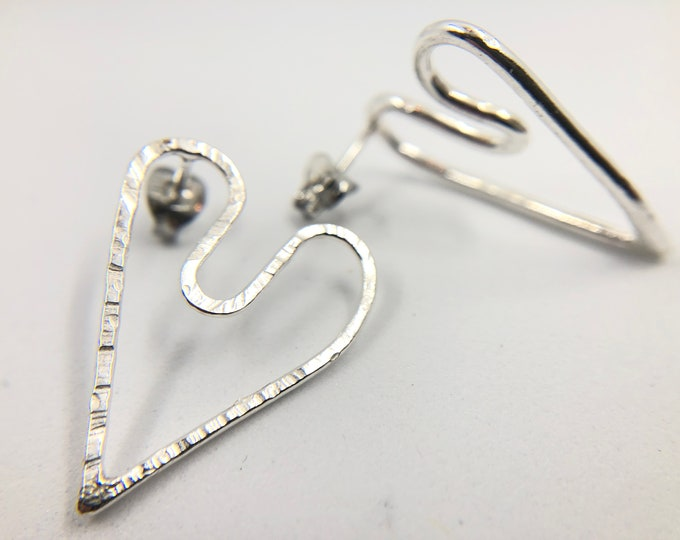 I give you my Heart, Eco-Sterling stud earrings - Handmade, each piece is unique - own a little piece of history.