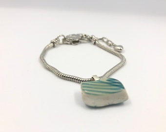 Japanese Sea Pottery charm on silver plated bracelet. Handmade & totally unique. The perfect eco friendly gift to save our planet
