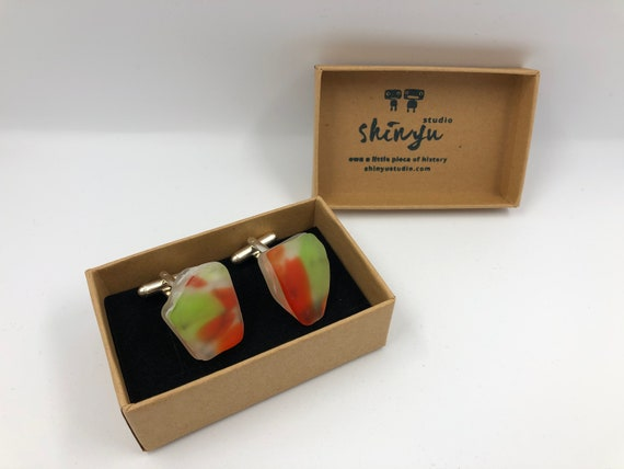 Fused glass Cufflinks. Handmade from an original 70's fused glass bowl. Completely different to anything on the market.