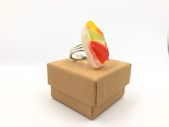 Fashion dress ring. Handmade from an original 70's fused glass bowl. Silver plated adjustable ring. Fun. Funky and helps save the planet!