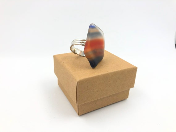Fashion dress ring. Handmade from a 70's fused glass 'Fish' - with silver plated adjustable ring. Fun. Funky and helps save the planet!