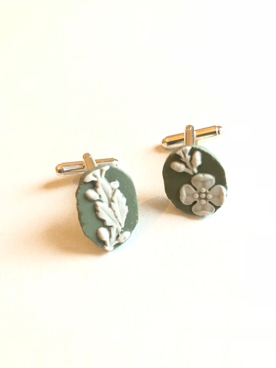 Recycled Wedgwood Cufflinks. Each item is handmade from a salvaged piece of Original Wedgwood. Absolutely unique!