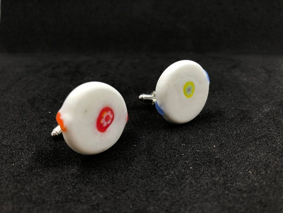 Fused glass Cufflinks. Handmade from original 'Glass Sweets' from the 70's. Completely different to anything on the market.
