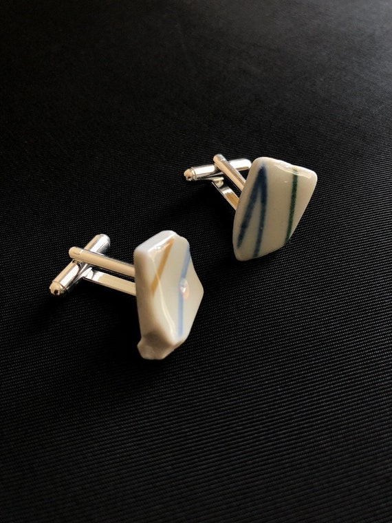 Japanese Sea Pottery Cufflinks. Each item is handmade & totally unique. Please note they are completely different from one another!