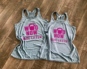 fc222691 WOD Now Wine Later - Tank Top - Multiple colors and styles