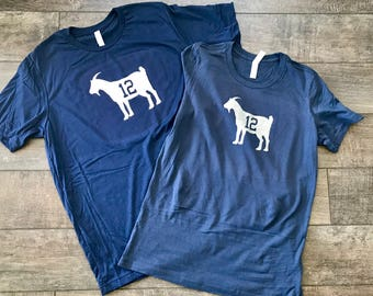 Goat - Tom Brady 12 - Navy Tee Shirts Bella + Canvas - His And Hers - New England Patriots