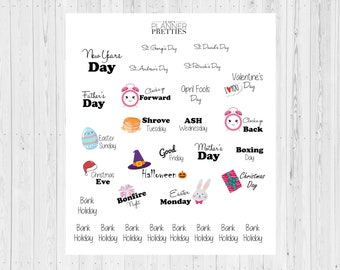UK yearly date stickers// UK stickers// Date stickers// Planner date stickers// Planner stickers