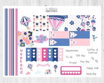Pocket planner spread// Pocket planner stickers// Filofax pocket// Kikki K small// Hot air balloons// Blue// Pink// Mini spread// Personal//