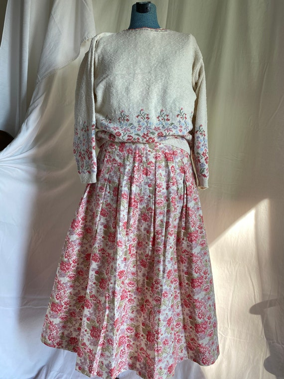 Laura Ashley Vintage Set Skirt & Sweater
