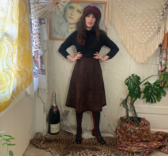 70's suede patchwork skirt - crochet - high-waiste