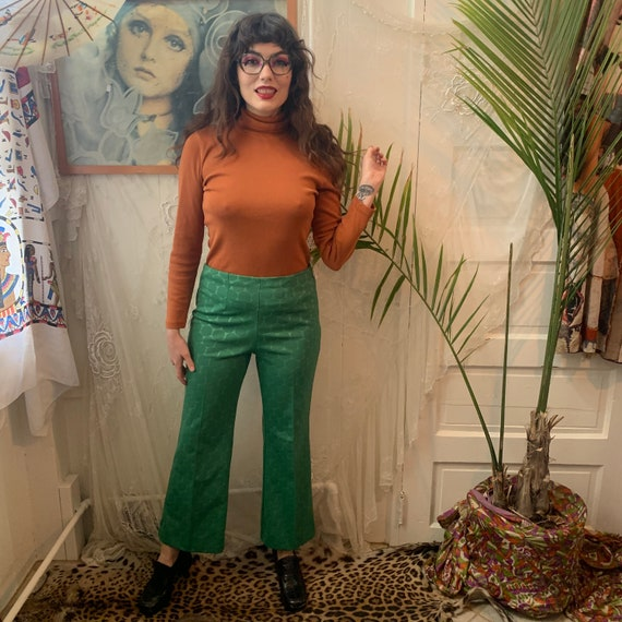70's GREEN FLARES - high-waisted - textured circle