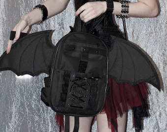 Backpack Gothic Backpack Anime Backpack Bat Wing Black Backpack Wings Bag Gothic Accessories Gothic style Punk Backpack Anime Bag