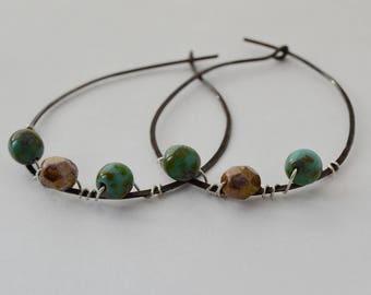 Meteor Shower Boho Hoop Earrings - Hoop Earrings, Sterling Silver, Wire Wrapped, Silver Earrings, Rustic Earrings, Bohemian Jewelry, Style