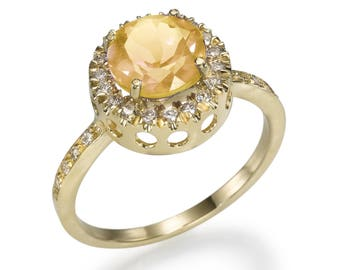 A gold ring called Citrine, Lagoon, diamond, sapphire, designer's jewelry, for women, a gift for her, white gold, gems&semi-precious stones,