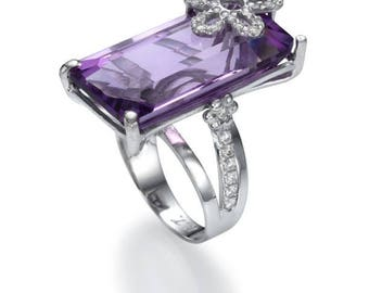 Amethyst, gold and diamonds ring, sapphire, designer's jewelry, women, gifts for her, white gold, gems&semi-precious stones, valentine feast