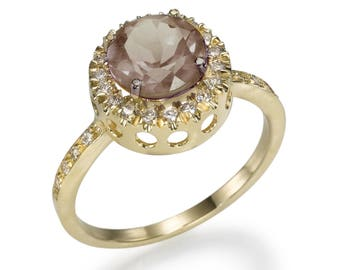 A gold ring called Smokey Lagoon, diamonds, sapphires, designer's jewelry, for women, a gift for her, white gold, gems&semi-precious stones,