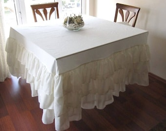 100% Linen Tablecloth , Ruffled Table Skirt,many Colors