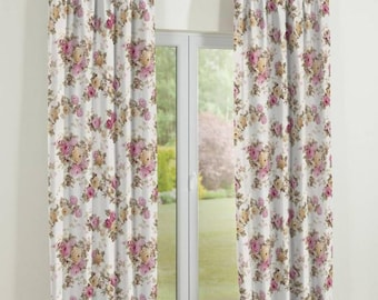 Flora Shabby Chic Curtains Panel Extra Wide 90 Window Treatment