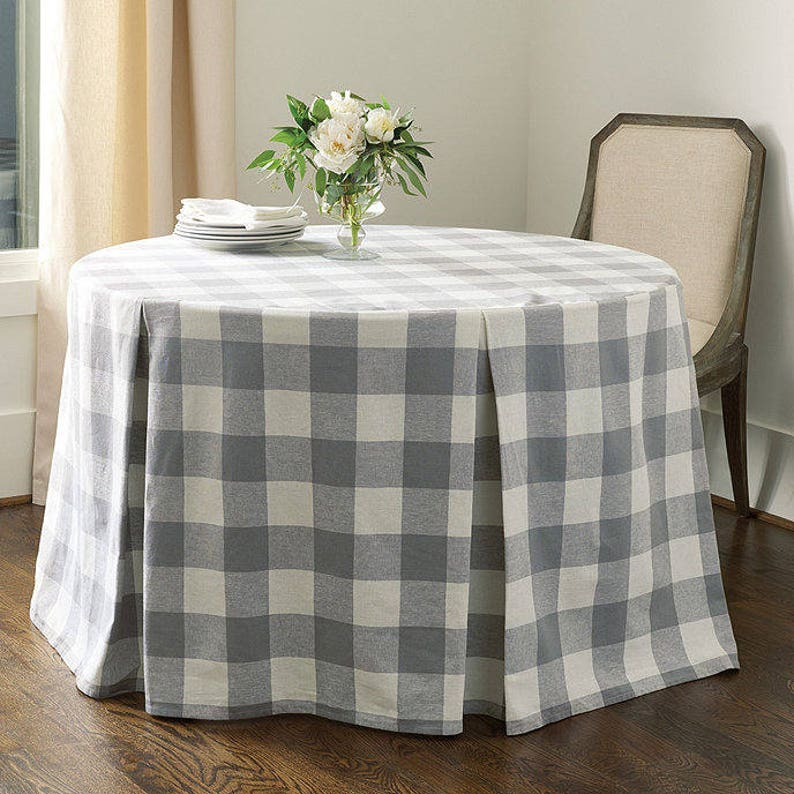 Buffalo check custom French country table skirt - handmade on Etsy.