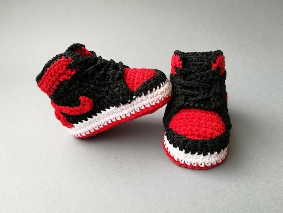 c62957b4df05 Baby crochet Nike Air Jordan style sneakers booties