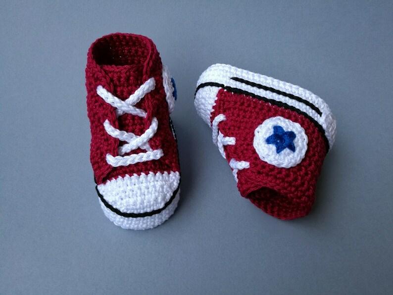 042cf5bfb86a Baby crochet Converse All Star newborn shoes bordeaux