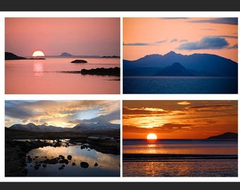 Set of 4 Greetings Cards - Sunset Design Blank Inside Photo Card - Photography