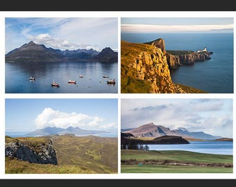 Set of 4 Greetings Cards - Skye, Rum and Eigg Scottish Islands Blank Inside Photo Card - Photography