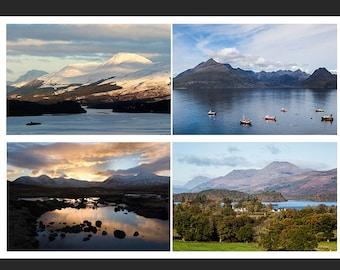 Set of 4 Greetings Cards - Scottish Loch Design Blank Inside Scotland Photo Card - Photography