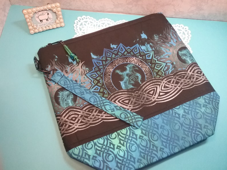 DRAGONS cotton fabric bag easy to carry storage for yarn M size project bag for knitting or crochet zipper bag with handle gift idea
