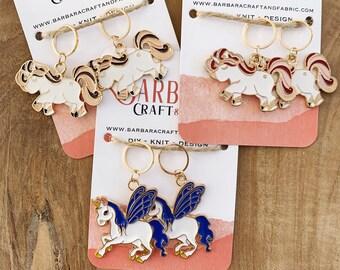 Set of 2 Unicorn Enamelled Knitted Mesh Marker Rings