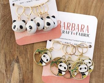 Set of 5 panda enamelled knit mesh marker rings
