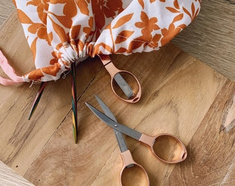 Rose gold foldable precision scissors - sewing - knitting - embroidery
