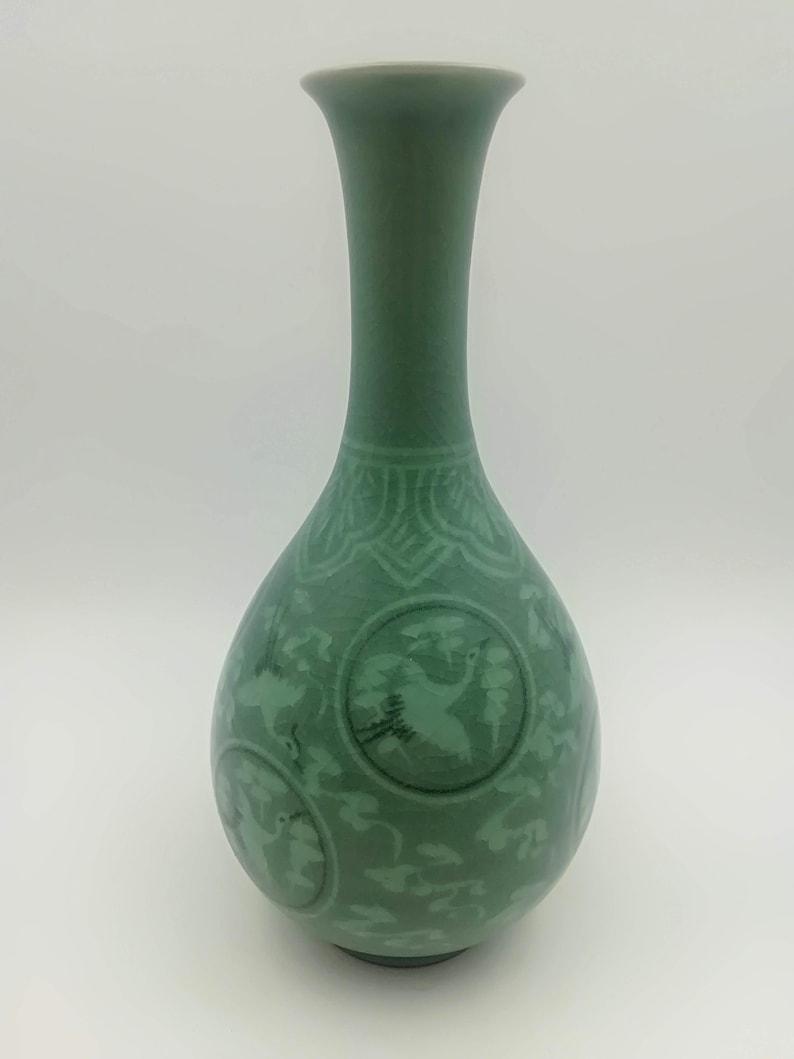 Signed  Korean Celadon Crane Vase Sanggam Green Crackle Glaze
