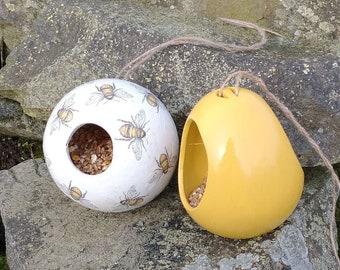 Busy Bees Mustard Yellow Bumble Bee Bird Feeder Globe House Gift Set Ceramic Wild Bird Seed Feeder, set of two, garden, gardening