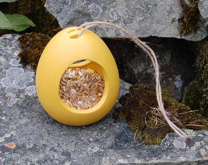 Mustard Yellow Ceramic Wild Bird Seed Feeder  - Gardening - Scottish Gifts - Birds - Apple - Balls - Scotland - Gardener - Nature - Garden